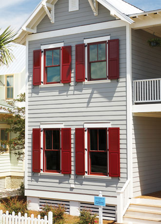 Composite exterior window shutters sales installation - Exterior louvered window shutters ...