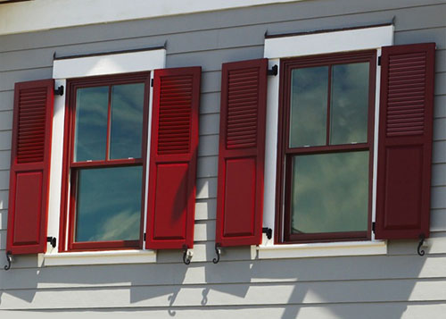 Composite exterior window shutters sales installation los angeles and orange county ca for Exterior louvered window shutters