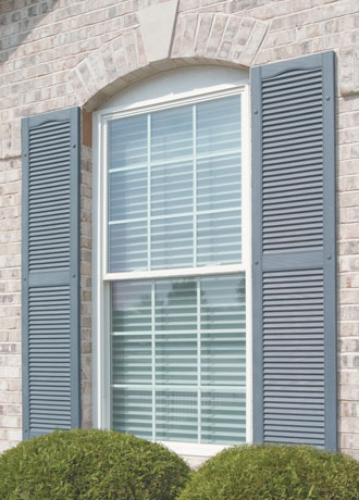 Vinyl exterior shutters contractor los angeles orange county ca louver raised panel board batten for Exterior louvered window shutters