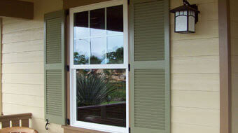 Exterior Outdoor Window Shutters Orange County And Los Angeles CA Wood Vin
